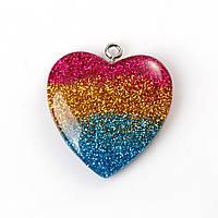 Подвеска Сердце С Блестками, Смола, Разноцветная, 30мм x 27мм