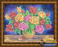 Набор для частичной вышивки бисером - Красивый букет роз, Арт. НБч3-74