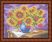 Набор для полной вышивки бисером - Натюрморт из подсолнухов и калины в вазе, Арт. НБп3-75-1