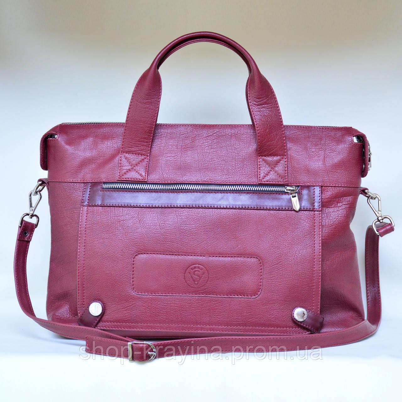 Деловой портфель женский VS107 burgundy 39х28х9 см