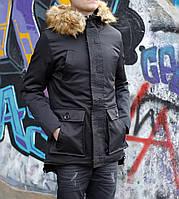 Теплая зимняя парка мужская (черная)
