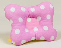 Детская ортопедическая подушка бабочка BabySoon Белый горошек на розовом 22х 26 см (150)