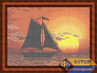 Набор для полной вышивки бисером - Парусник в море на закате, Арт. ПБп4-21
