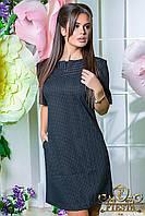 строгое офисное  женское платье с брошью