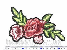 Нашивка Роза 3 бутона красно-розовая 120х185 мм, фото 2
