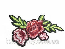 Нашивка Роза 3 бутона красно-розовая 120х185 мм, фото 3