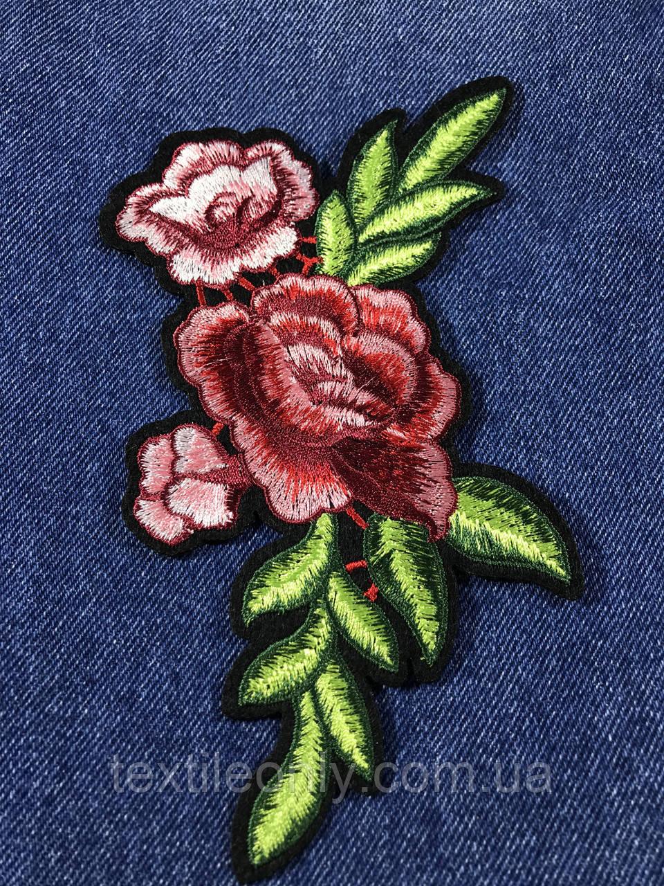Нашивка Роза 3 бутона красно-розовая 120х185 мм