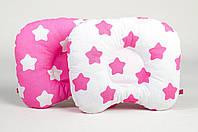 Подушка ортопедическая для новорожденных BabySoon Розовые звезды 22 х 26 см (153)