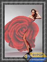 Набор для полной вышивки на габардине - Девушка в платье роза, Арт. ЛБч4-16