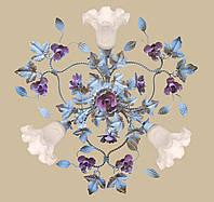 Люстра белая с розовыми розами в стиле флористика  04545/3 WR