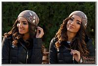Шапка женская вязанная светло-коричневый мод. Подиум