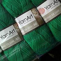 Пряжа для ручного вязания Yarnart Merino De Luxe 50 ( мерино де люкс 50) зимняя пряжа 338 трава