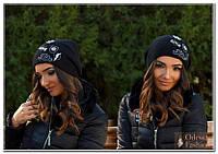 Шапка женская вязанная черный мод. Подиум