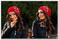 Шапка женская вязанная красный мод. Подиум