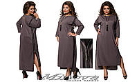 Платье длинное, по бокам молнии, треугольный вырез на спинке, разные расцветки, большие размеры