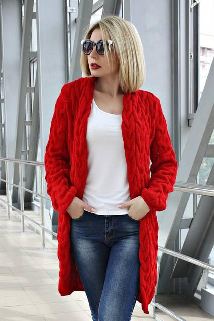 Кардиган вязанный короткий Коса Лало NEW color красный, фото 1