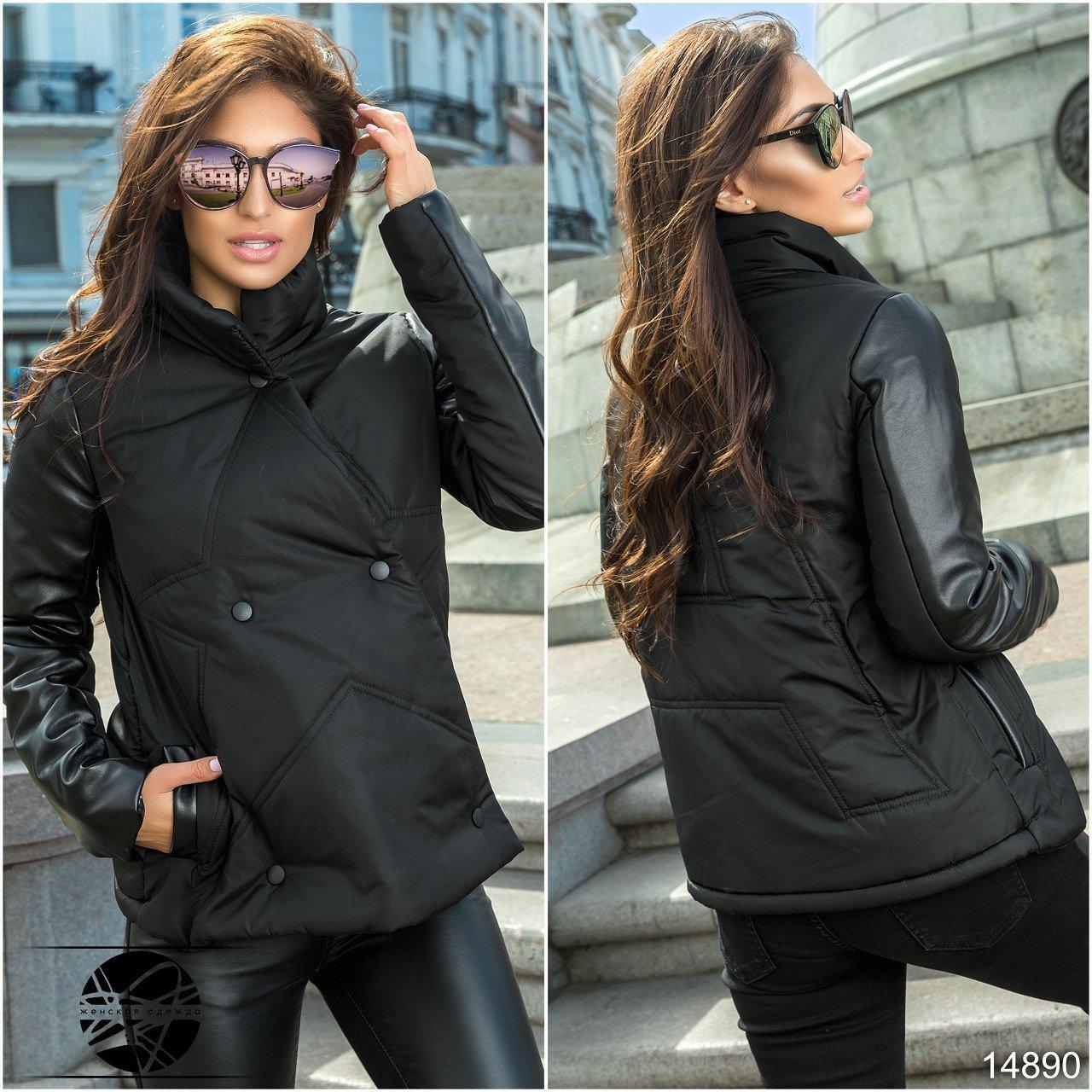 b8649d45cde5 Молодежная куртка черного цвета с рукавами из экокожи. Модель 14890,  коллекция осень-зима