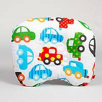 Ортопедическая подушка для новорожденных BabySoon Разноцветные машинки 22 х 26 см (168)