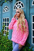 """Свитер женский """"Крупная коса"""" - розовый"""