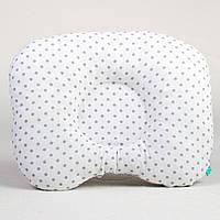Подушка ортопедическая для новорожденных BabySoon Серый горошек на белом 22 х 26 см (177)
