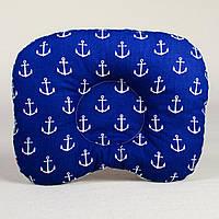 Подушка для новорожденных ортопедическая BabySoon Якоря 22 х 26 см цвет синий (179)