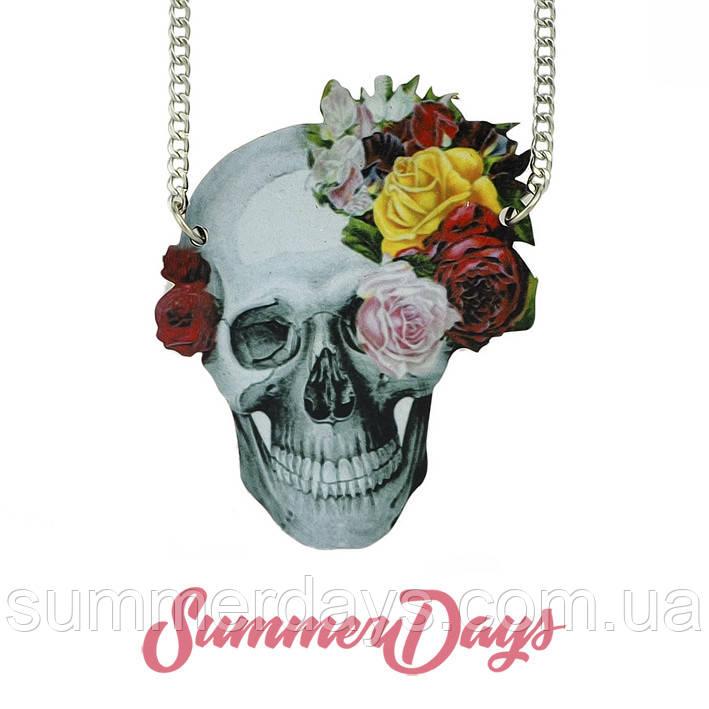 Кулон  череп и цветы