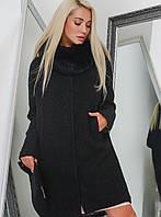 Модное Зимнее Пальто с Меховым Воротником Черное + Клатч