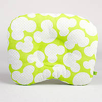 Подушка для новорожденных BabySoon Яркий Микки №2 размер 22 х 26 см цвет салатовый (188)