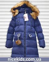 Детское зимнее пальто для девочки 110-116р