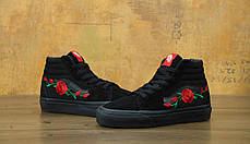 Мужские кеды Vans SK-8 Roses Mono Black . ТОП Реплика ААА класса., фото 3