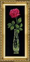 """Набор для вышивания крестом """"Роза в вазе на черном фоне"""" №202 """"Чарівна Мить"""""""