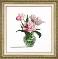 """Набор для вышивания крестом """"Розовые тюльпаны в вазе"""" М-200 """"Чарівна Мить"""""""