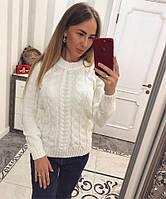 """Модный свитер """"Красивые косы"""" - белый"""