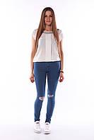 Синие джинсы с высокой талией размер 30 . Артикул: 367