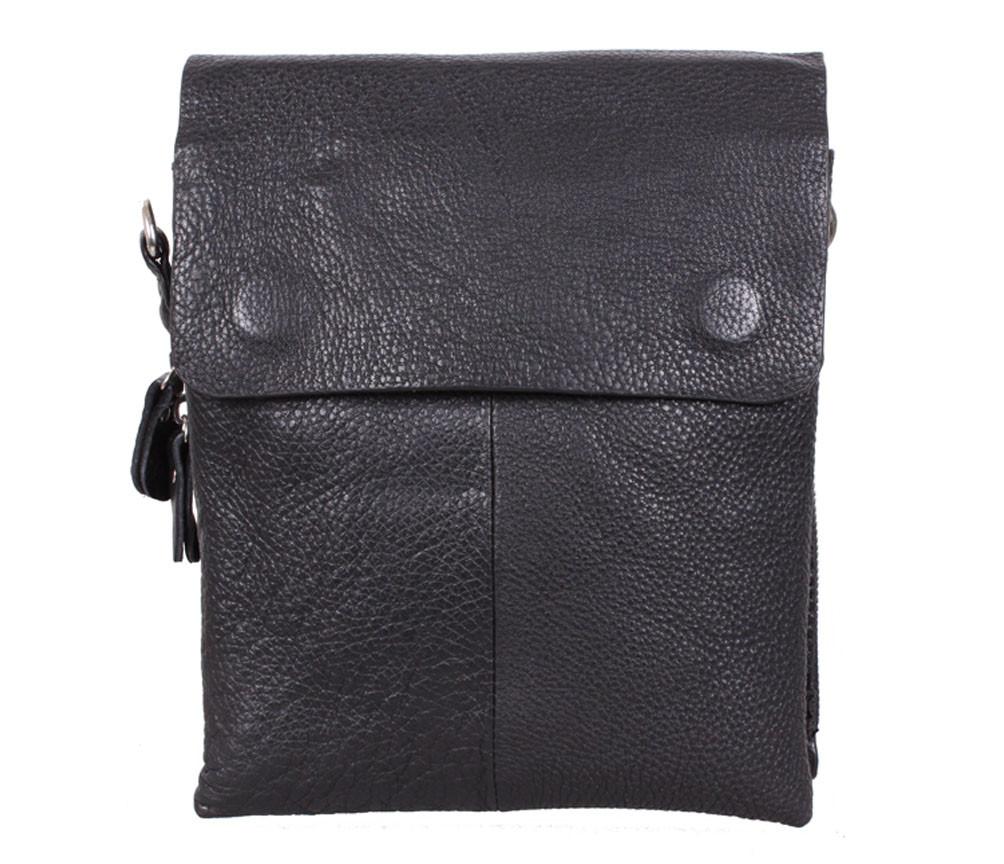 Мужская кожаная сумка на несколько отделений черная