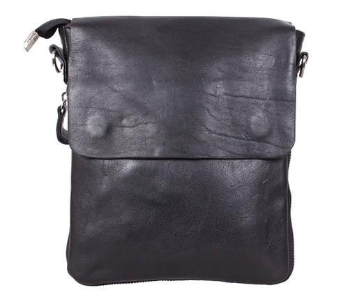 388d10a2f812 Практичная мужская кожаная сумка из гладкой кожи черная купить в ...