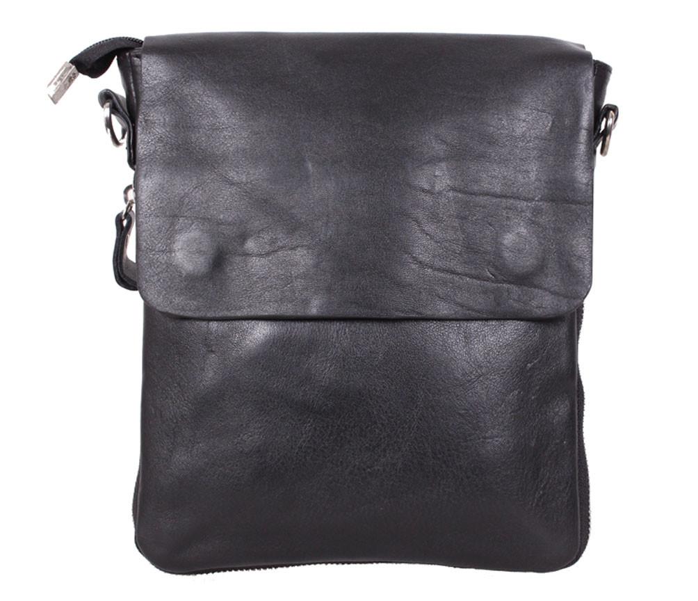 Практичная мужская кожаная сумка из гладкой кожи черная