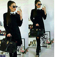 Черное элегантное  кашемировое женское пальто со стойкой.  Арт - 18055