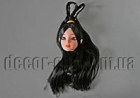 Голова куклы с макияжем и черными с косичками волосами 15см арт.18