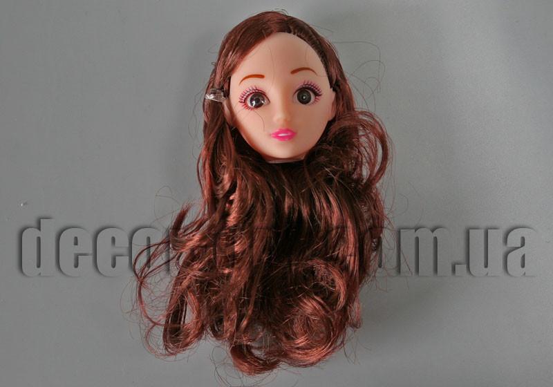 Голова куклы с макияжем и каштановыми волнистыми волосами 12см арт.23