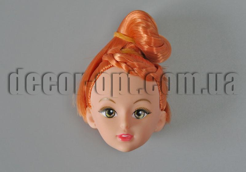 Голова куклы с макияжем и рыжими прической волосами арт. 27