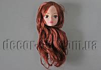 Голова куклы с макияжем и каштановыми волосами 14см арт.29