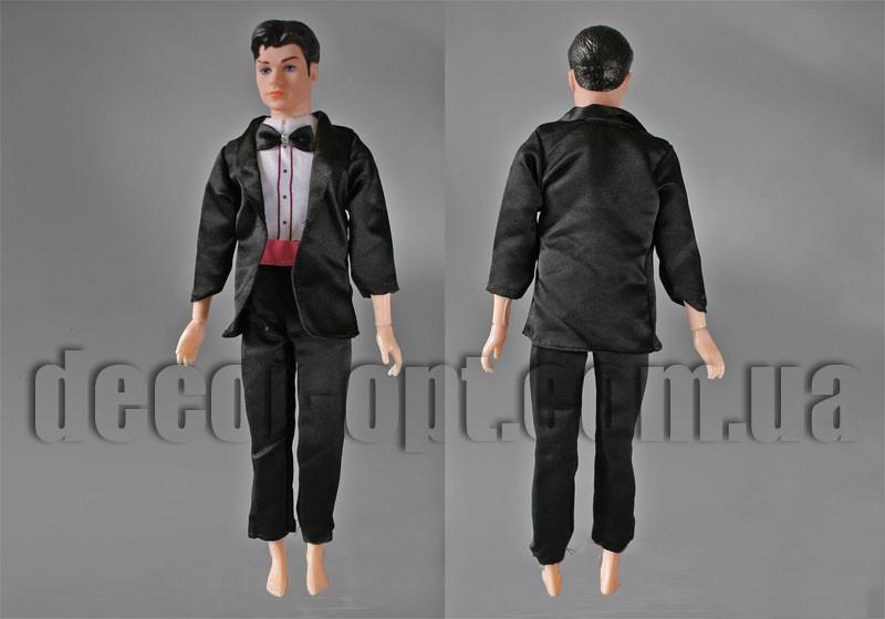 Одежда черная с черной бабочкой на жениха  30см (без манекена)