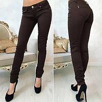 Женские коричневые стрейчевые джинсы классические Польша БАТАЛ, фото 1