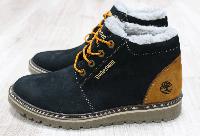 Ботинки зимние Timberland черные из нубука