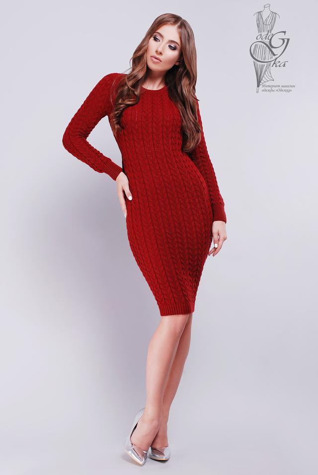 Цвет Марсала Женского облегающего платья приталенного Катя