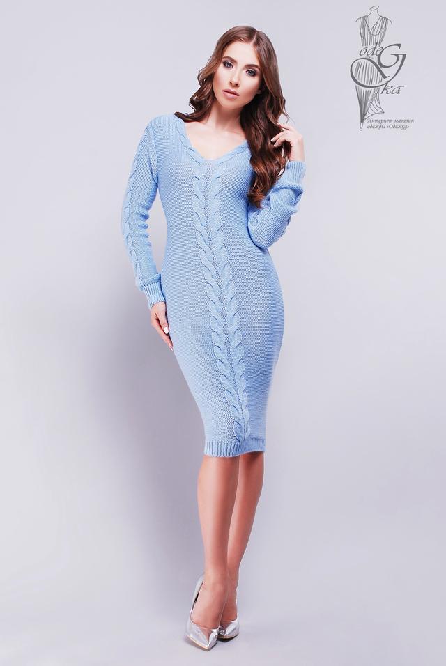 Цвет Голубой Женского облегающего платье приталенного Люся