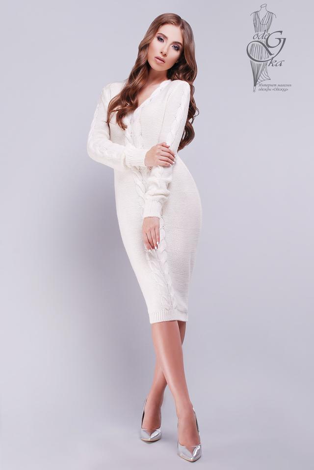 Цвет Молоко Женского облегающего платья приталенного Люся