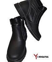 Мужские зимние кожаные ботинки, Karat черные, две змейки