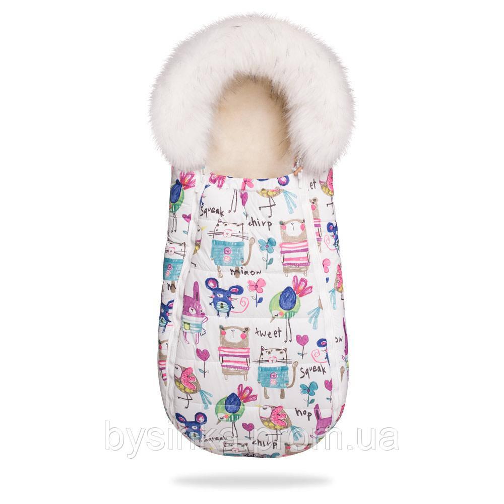 Зимний конверт-кокон на овчине с опушкой Baby XS , 100 % овечья шерсть